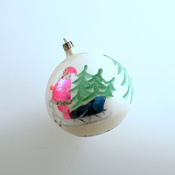 Vintage Christmas Ornament Large Glass Ornament Santa Reindeer Poland by efinegifts on Etsy