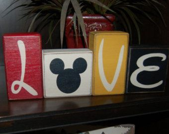 LOVE Mickey Mouse Disney Primitive Letter Distressed Sign Blocks Wedding Home Decor