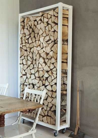 Incorporate the log storage into a room divider, stunning addition even when not in use | 33 Interior Decorating Ideas Bringing Natural Materials and Handmade Design into Eco Homes