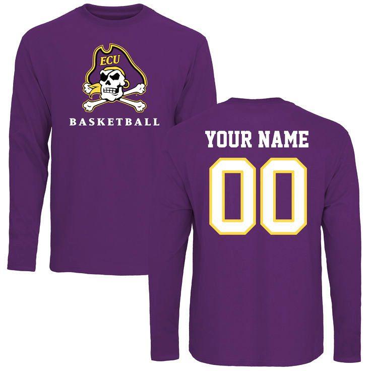 East Carolina Pirates Personalized Basketball Long Sleeve T-Shirt - Purple - $42.99
