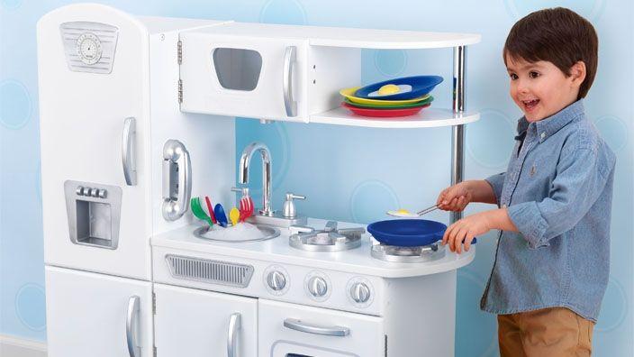 Vintage-Style Play Kitchen $150: Vintage Styl Plays, Kids Stuff, Playkitchen, Baby Toys, White Vintage Kitchens, Plays Sets, Plays Kitchens, Kitchens Plays, Kids Toys