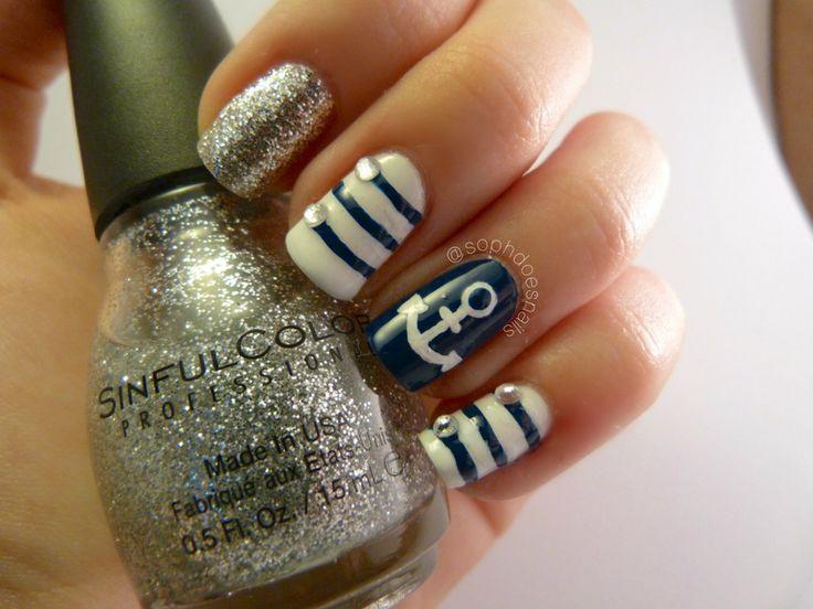 Best 25+ Nautical nails ideas on Pinterest   Nautical nail designs, Sailor  nails and Anchor nails - Best 25+ Nautical Nails Ideas On Pinterest Nautical Nail Designs