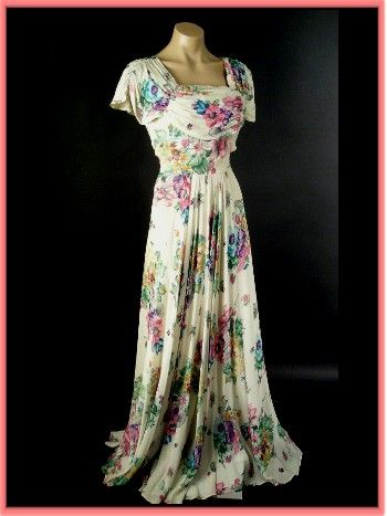 And  a gorgeous 1940′s gown in a romantic floral print.