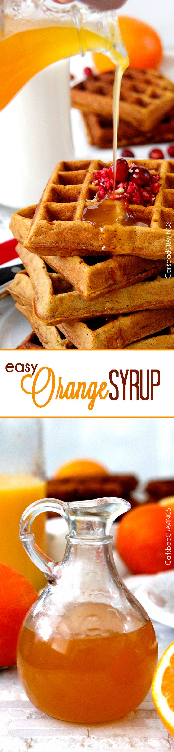 10 Minute, 4 ingredient, EASY Orange Syrup - sweet, silky orange syrup makes everything better!  #breakfast #syrup