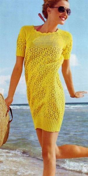 Платье из хлопка вязание