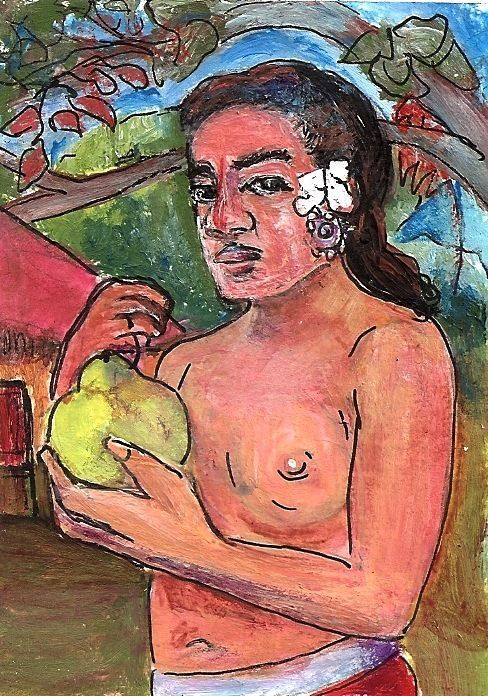 ACEO Woman & Breadfruit in the style of Gauguin Tahiti Painting Penny StewArt #Postimpressionism