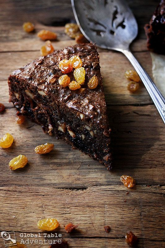 """Caribbean Black Cake ... A dense, dark holiday cake made with rum and cherry brandy soaked fruit ... a great recipe from this blog, """"Global Table Adventure""""."""
