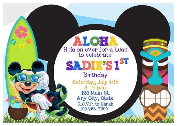 Invitación fiesta Luau Mickey Mouse fiesta o cumpleaños