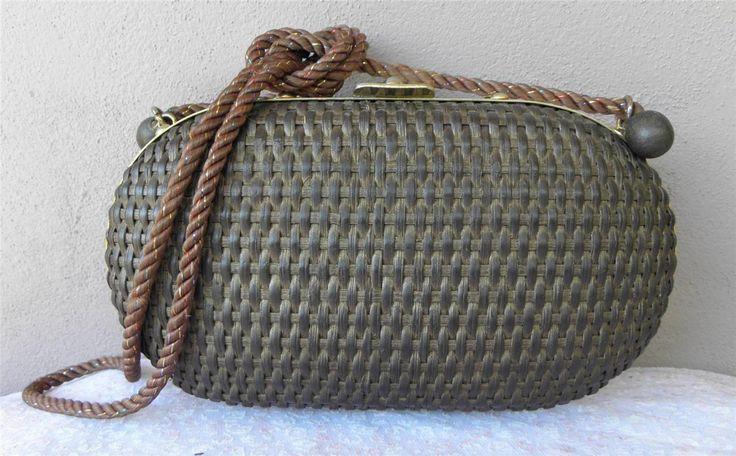 VINTAGE 1950's Brown Woven Rattan Hinged Shoulder bag Goldtone Frame