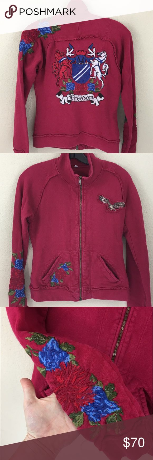 Johnny Was embroidered rose freedom eagle jacket Great condition. Only flaw is that one of the double zippers is missing the zipper pull. Does not affect the function of the jacket Johnny Was Jackets & Coats