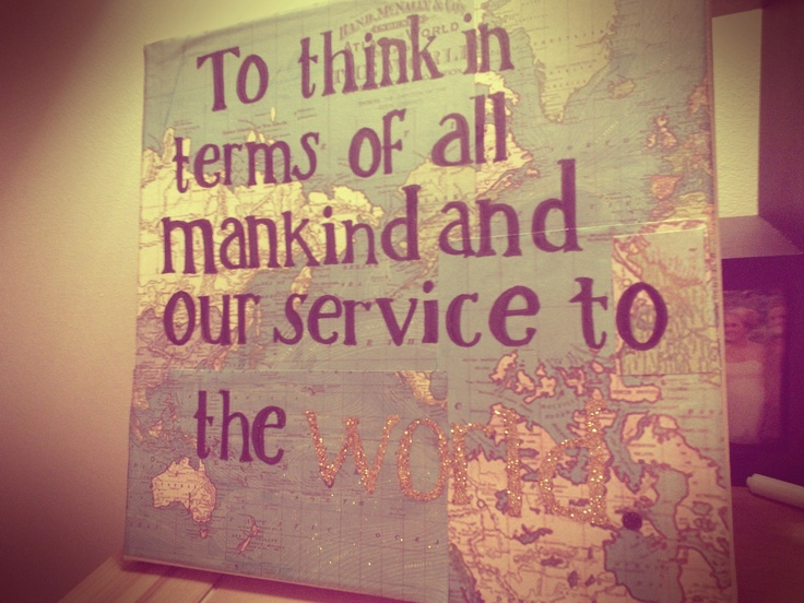 """What a cute way to incorporate the creed onto a map: """"to think in terms of all mankind and our service to the world"""""""