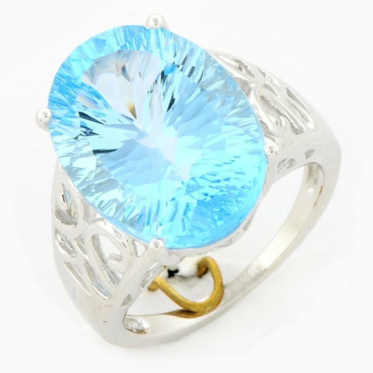 SKY BLUE TOPAZ 14.35 CT CONCAVE CUT RING IN 10 KT WHITE GOLD + AUTH .CERT
