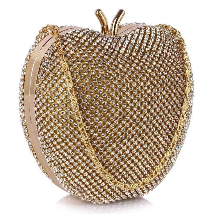 Niezwykła torebka wizytowa w kształcie jabłka złota złoty | Sklep internetowy Evangarda.pl