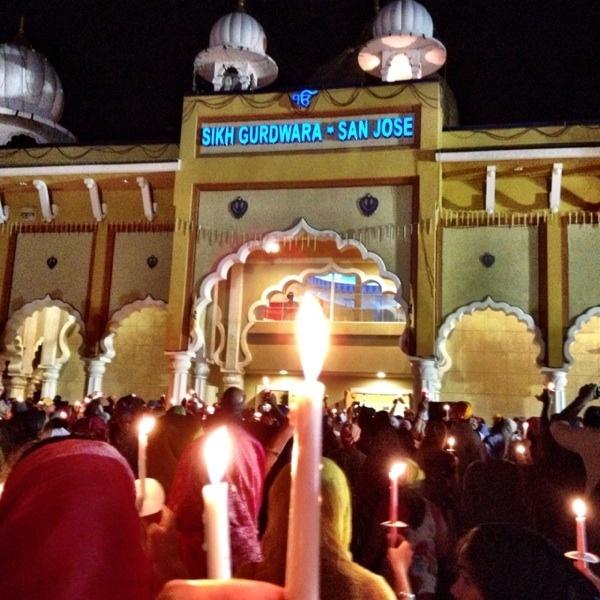 Candlelight Vigil at San Jose Gurdwara for Milwaukee Victims.