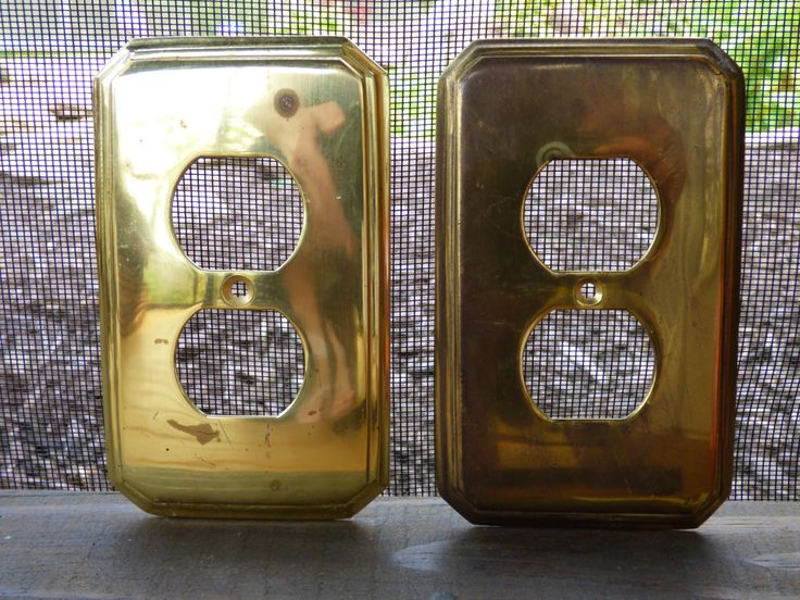 vintage brass switch plates heavy solid brass made in on wall outlet id=68290
