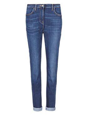 Ecru Relaxed Skinny Denim Jeans