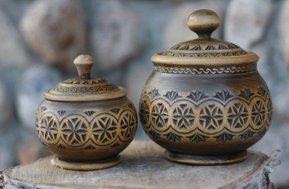 Russian Traditional Sugar bowl and Salt cellar by GlobalFactory