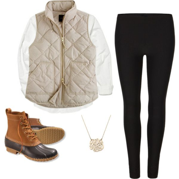 easy winter costume - duck boots + vest + dainty necklace + leggings  I would wear skinny jeans personally. but I love the vest and the boots!!