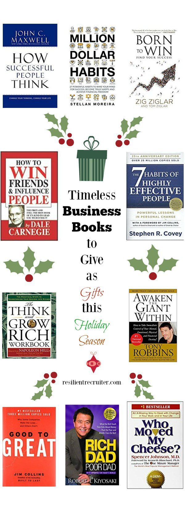 Looking for some enriching business books for clients, coworkers, or a new grad?  Check out my top picks for books on Business and Success!  #giftideas #gifts #businessbooks #goodreads #business #success #bookreviews #careeradvancement #career
