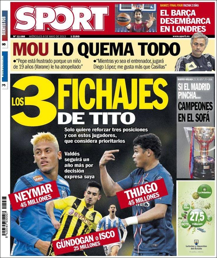 Los Titulares y Portadas de Noticias Destacadas Españolas del 8 de Mayo de 2013 del Diario Deportivo Sport ¿Que le parecio esta Portada de este Diario Español?