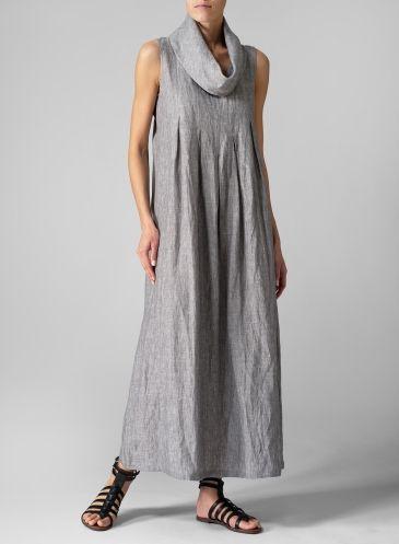 Linen Sleeveless Cowl Neck Long Dress Two Tone Gray