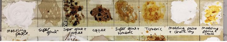 A1 textural surfaces board  Row 4  Modelling Paste Super Glue Super Glue & Coffee Super Glue & Tumeric Tumeric Modelling Paste & Chalk Dry Modelling Paste & Tumeric