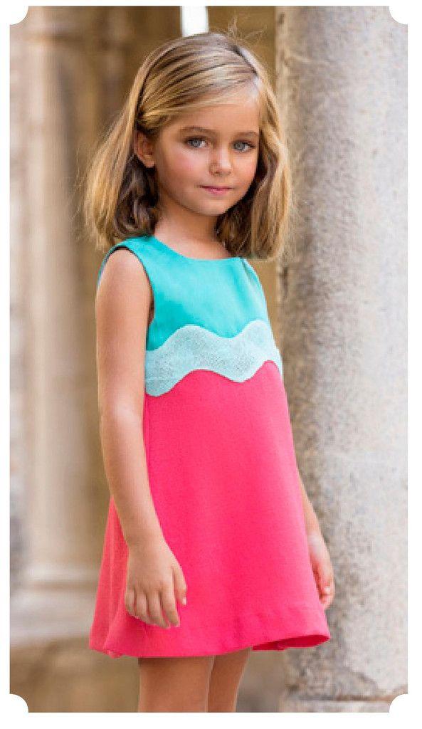 Vestido tricolor de algodón bordado Artesanía Amaya 76045