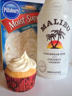 Cupcakes   Follow the instructions on the box for the egg white recipe. Only use one cup of water and 1/3 cup of coconut rum.      Icin...