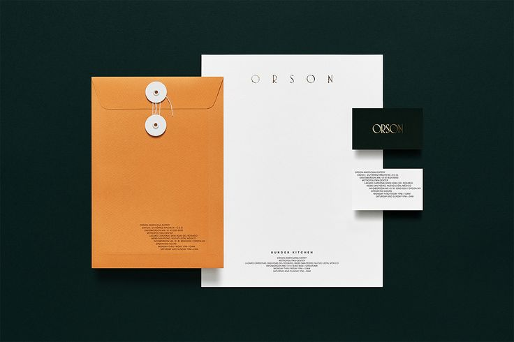 Envelope, headed paper and business card design by Anagrama for San Pedro based burger bar Orson