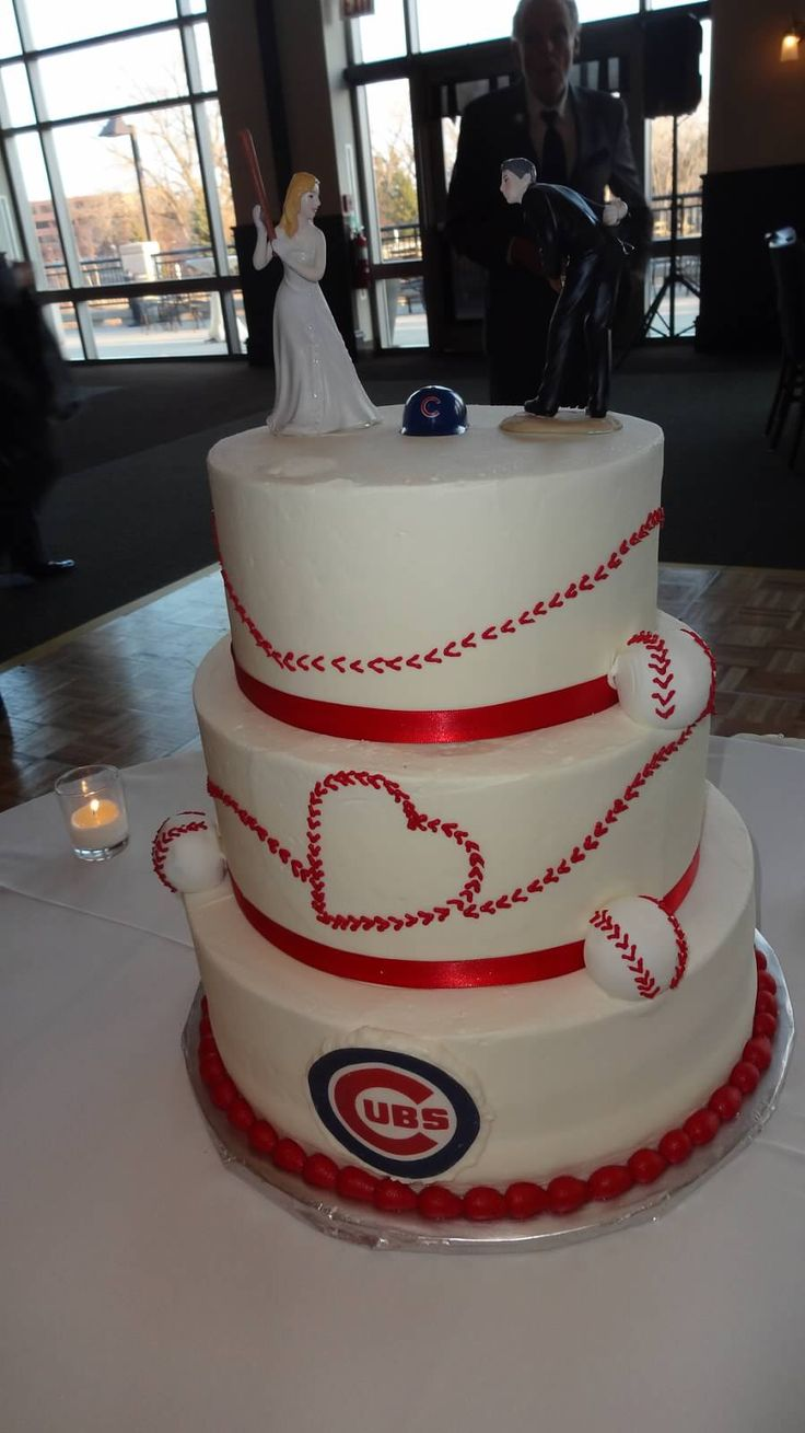 Chicago Cubs Baseball Wedding Cake