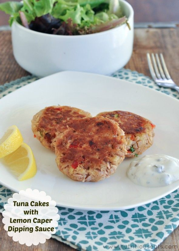 Tuna Cakes with Lemon Caper Dipping Sauce- a healthy lunch or dinner ...