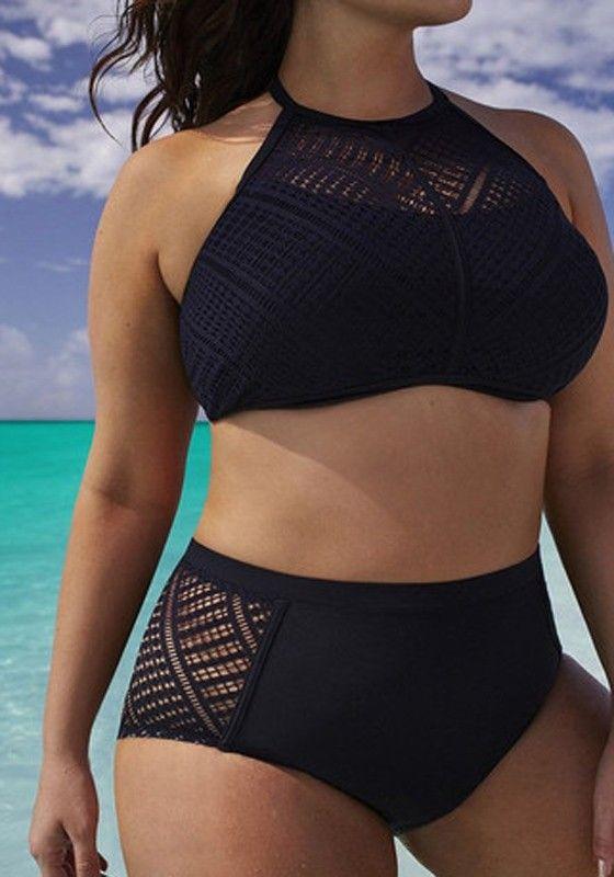 Women's Black Patchwork Hollow-out Crop Tie Back Bodycon Bathing Suit Splicing Two Piece Plus Size Halter Neck Swimwear