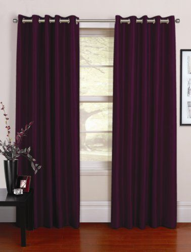 """Urban Living Venezia Plain Faux Silk Lined Ready Made Curtains / Drapes 46"""" x 90"""" (117cm x 229cm) in Purple Grape with an Eyelet Ring Top by Urban Living. $49.99. 100% faux silk polyester face, 100% polyester lining. dry clean only. eyelet ring top suitable for a curtain pole. matching cushion covers available. size of each curtain panel (sold in pairs): 46"""" x 90"""" (117cm x 183cm), fits a window up tp 4ft (120cm) wide. Venezia is simplistic yet stylish 100% faux silk polyester d..."""