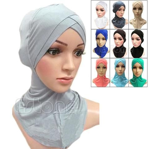 Full Cover Inner Muslim Cotton Hijab Cap Islamic Head Wear Hat Underscarf Colors