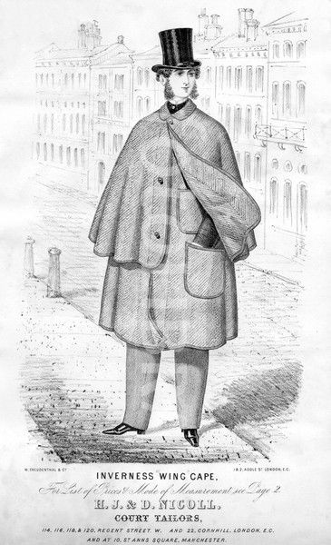 Inverness Cape - worn by men in the Crinoline Period. It was a long sleeve, loose coat with a cape that was fitted around the neck and ended at the wrist.
