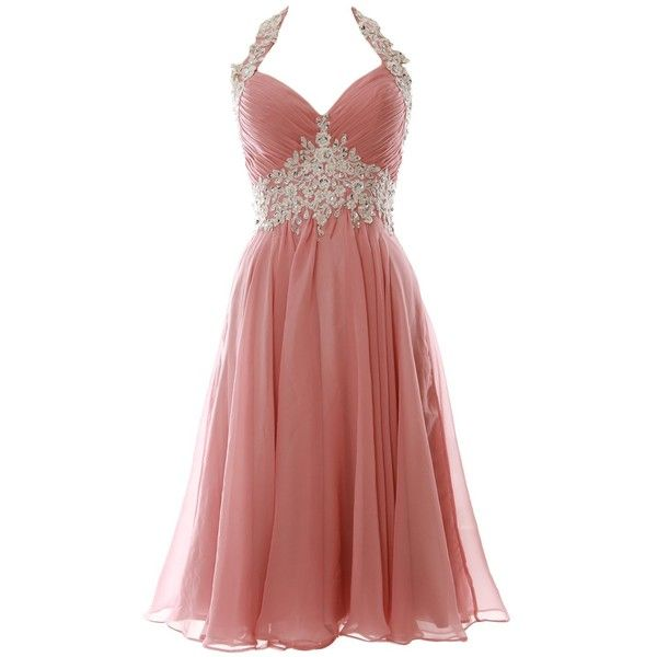 MACloth Women Halter Lace Chiffon Short Prom Dress Formal Evening Ball... ($109) ❤ liked on Polyvore featuring dresses, gowns, red gown, red prom dresses, prom dresses, red evening dresses and prom gowns