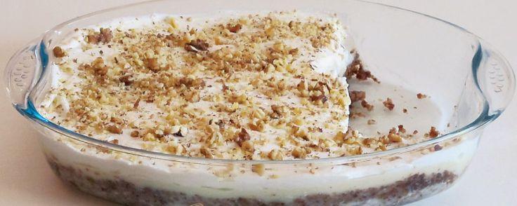ΥΛΙΚΑ Για το κέικ 1 φλ. καρύδια ψιλοκομμένα, 1 φλ. ζάχαρη, 1 κοφτή κουταλιά κανέλα, 2 κουταλιές ρόφημα σοκολάτας (Drinking chocolate), 1 ½ φλ. φρυγανιά (καπήρα), 1 κουταλάκι μπέικιν πάουντερ, ... Read More