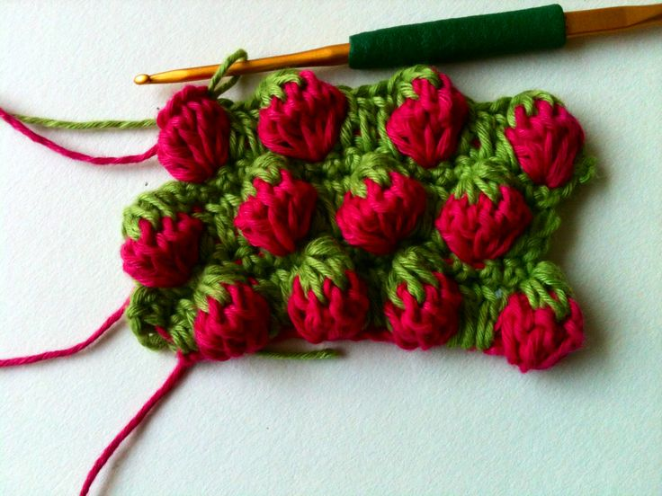 Crochet Strawberry Stitch | Crochet & More: Strawberry Stitch Tutorial! Even have links to videos - MY MOM WOULD HAVE LOVED THIS STITCH - could put it anywhere within anything!! Great esp. when you lived in a town that holds a Strawberry Festival every year!!!