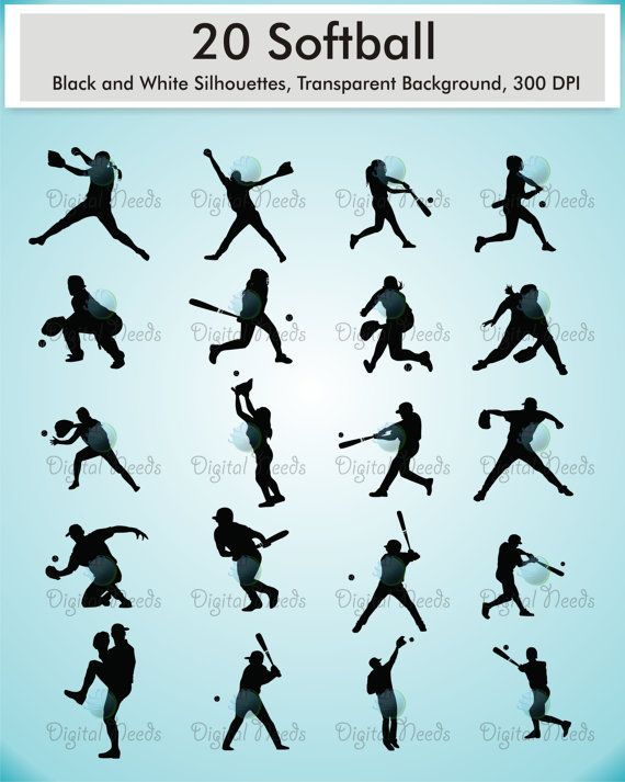 20 Softball Silhouettes Clip Art / 10 men softball player and 10 girl softball player / png files / Sports Silhouettes /  INSTANT DOWNLOAD