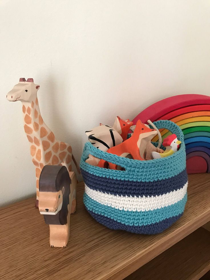 Crochet basket with handles by NatiLittleThings on Etsy