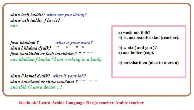 Basic conversation in Moroccan Arabic.  Personal Questions.