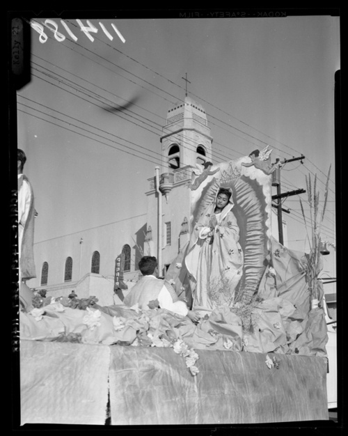 Dia de la Virgen de Guadalupe, 1958, taken during a parade in East LA. Photo from the Los Angeles Times.