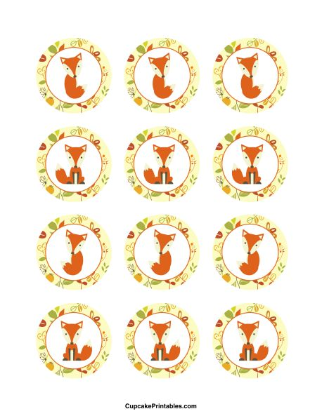 Fox cupcake toppers. Use the circles for cupcakes, party favor tags, and more. Free printable PDF download at http://cupcakeprintables.com/toppers/fox-cupcake-toppers/