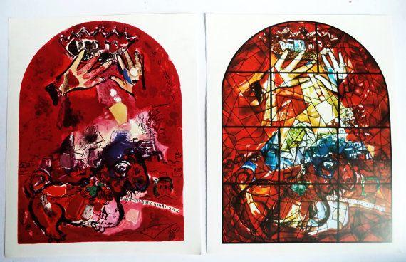 Pair 60s Original Marc CHAGALL prints JUDAH by MushkaVintage3