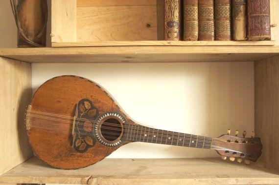 Antique Flat Backed Mandolin, Inlaid, Circa 1880-1900
