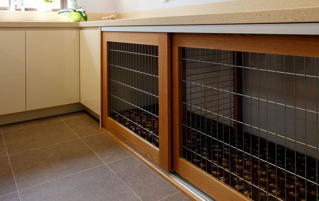 Dog Crates built into the decor... great for a pet/mud room. Build this without the doors - have a nook for the pooch!