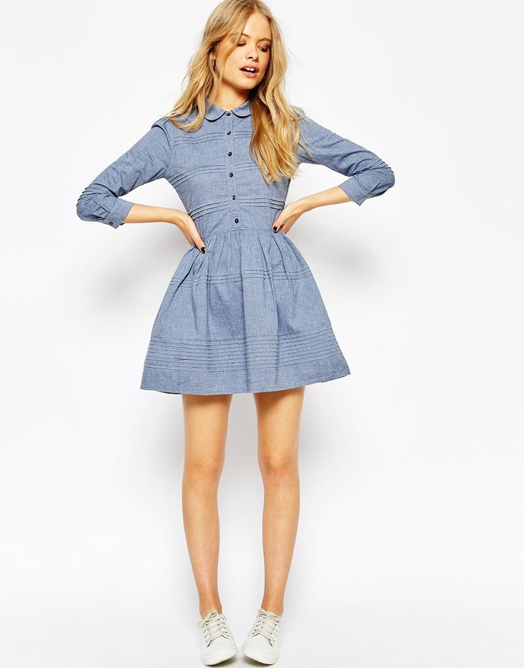 Jack Wills Pintuck Dress With Curved Collar