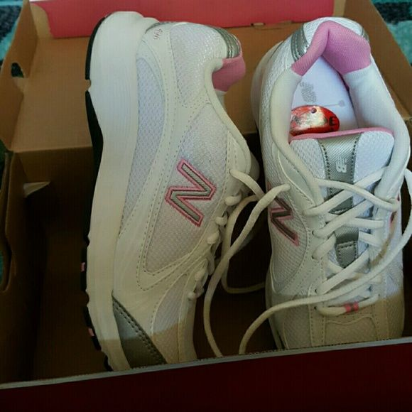 New Balance Walking Shoes Pink white and gray walking shoes, worn once. EUC practically brand new.  REDUCED Prefer to go to someone in need if that's possible. New Balance Shoes Athletic Shoes