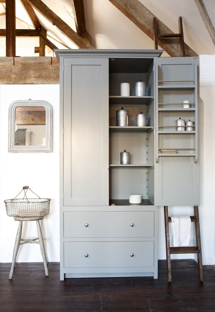 Our brand new Shaker Pantry with slate shelf, painted in Lead and on show in our Loft Kitchen here at Cotes Mill