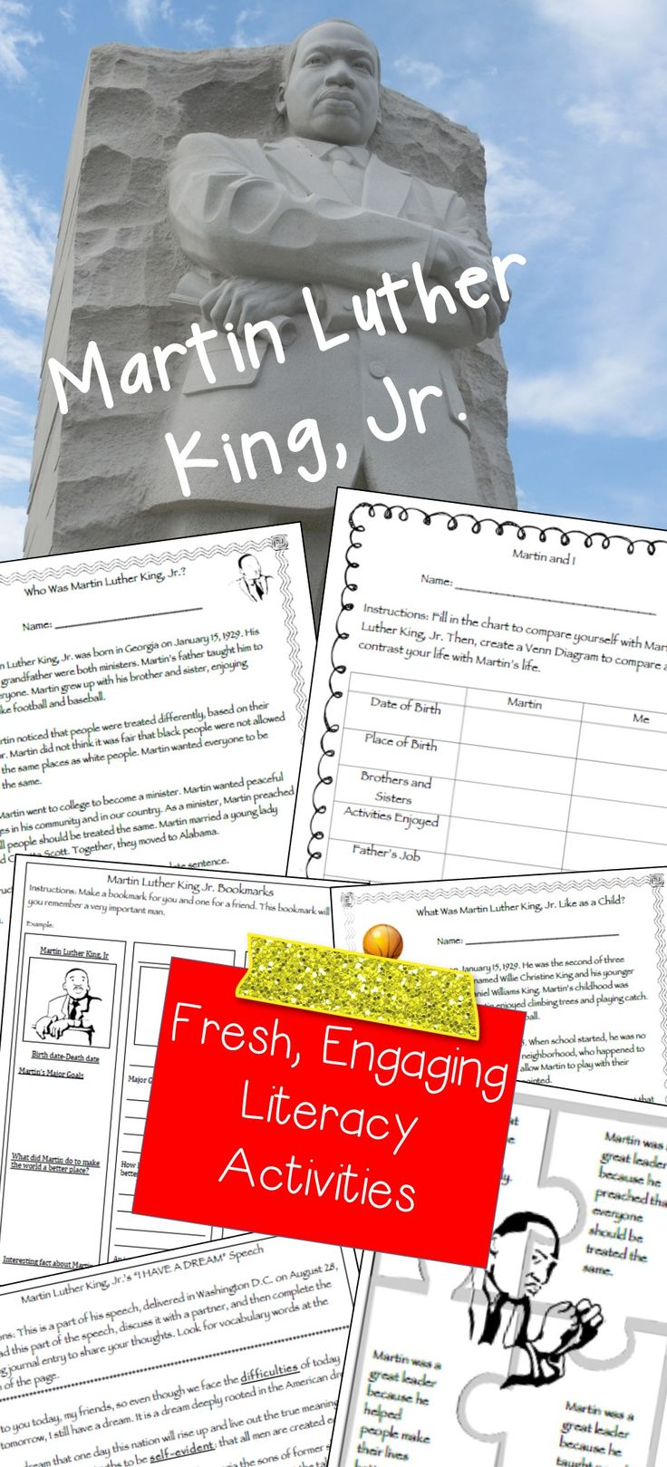 Are you excited to teach your students about the legacy of Martin Luther King, Jr.? Are you looking for more than just reading comprehension passages on this great American? You will find several fresh, engaging activities in this packet to help your students get excited about Martin Luther King, Jr.
